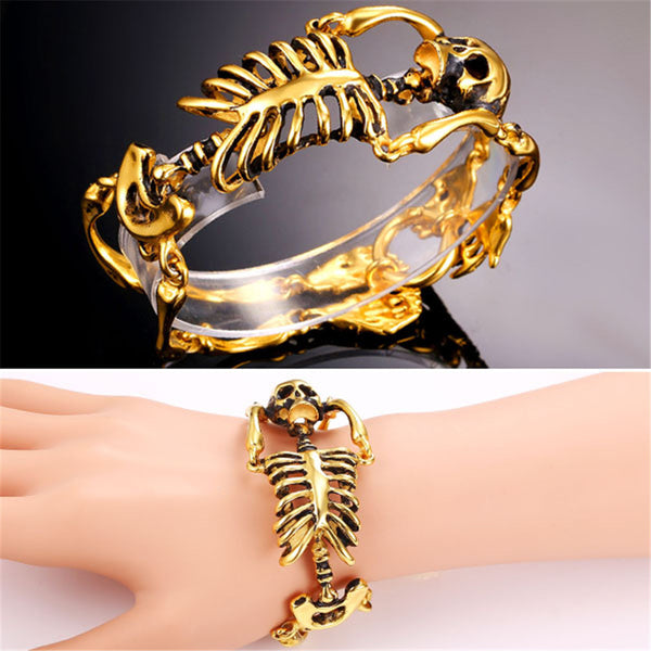 U7 Gothic Gold Plated Stainless Steel Skeleton Skull Bones Bracelet Fo