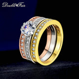 Double Fair 3 Rounds Women's Ring Set Silver/Rose Gold Color Flower Crystal Stone Wedding Jewelry Rings For Women Femal DFR107