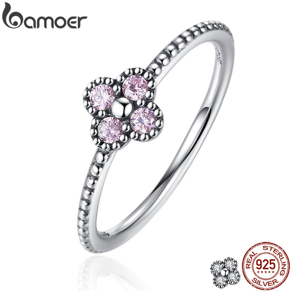 BAMOER 2 Color 100% 925 Sterling Silver Pink & White Clear CZ Romantic Clover Ring Women Fashion Jewelry PA7197