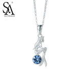 925 Sterling Silver Mermaid Charms Necklaces Blue CZ Sterling Silver Necklaces & Pendant Fine Jewelry for Women