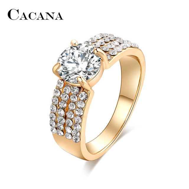 CACANA Four lines Cubic Zirconia Rings For Women Trendy Fashion Zinc Alloy Rings Jewelry Bijouterie Wholesale NO.R503