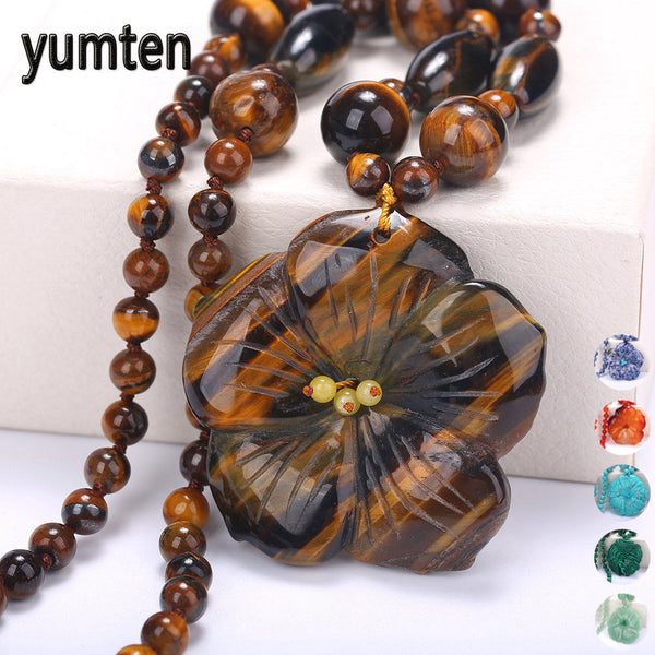 Yumten Women Necklace Men Flowers Pendant Crystal Power Gemstone Stone Female Short Necklace Statement Fine Jewelry Fashion Gift