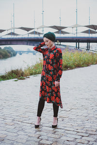 Niswa Fashion -Rhinestone Midi Dress - Crimson Floral (XS, S, M) - Modest Tops - Niswa Fashion - Third Culture Boutique
