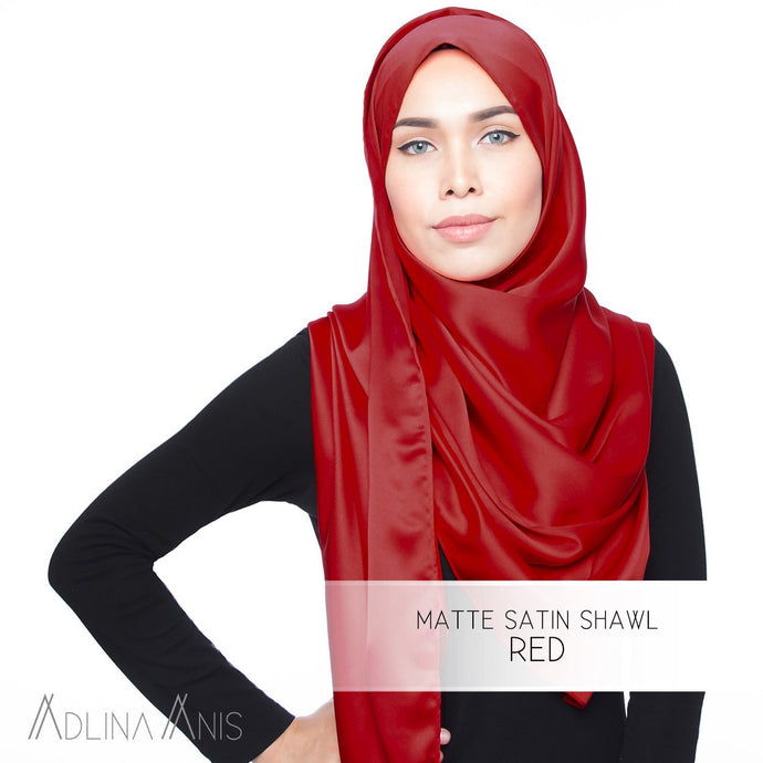 Matte Satin Shawl - Red - Satin - Adlina Anis - Third Culture Boutique