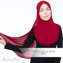Load image into Gallery viewer, Curved Chiffon Shawl - Red - Third Culture Boutique