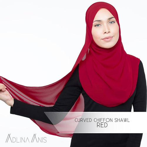 Curved Chiffon Shawl - Red - Third Culture Boutique