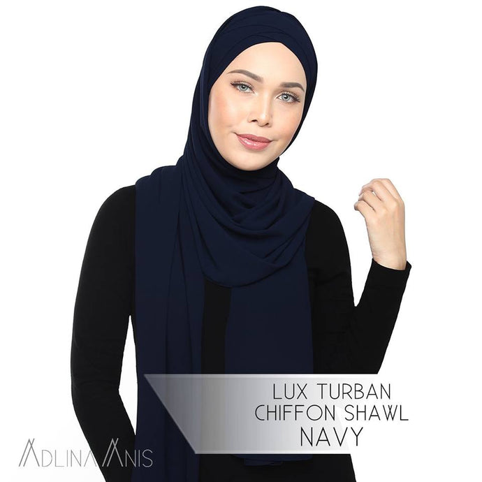 Lux Turban Chiffon Shawl - Navy - Lux Turban - Adlina Anis - Third Culture Boutique