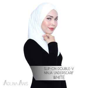 Slip-On Double-V Ninja Underscarf - White - underscarves - Adlina Anis - Third Culture Boutique