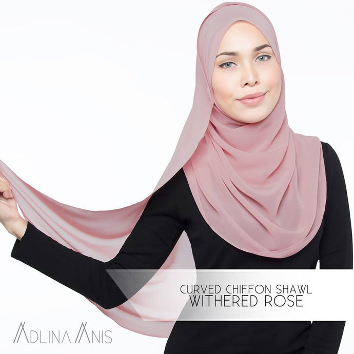 Curved Chiffon Shawl - Withered Rose - Premium Chiffon - Adlina Anis - Third Culture Boutique