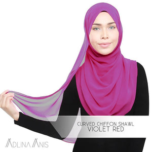 Curved Chiffon Shawl - Violet Red - Premium Chiffon - Adlina Anis - Third Culture Boutique