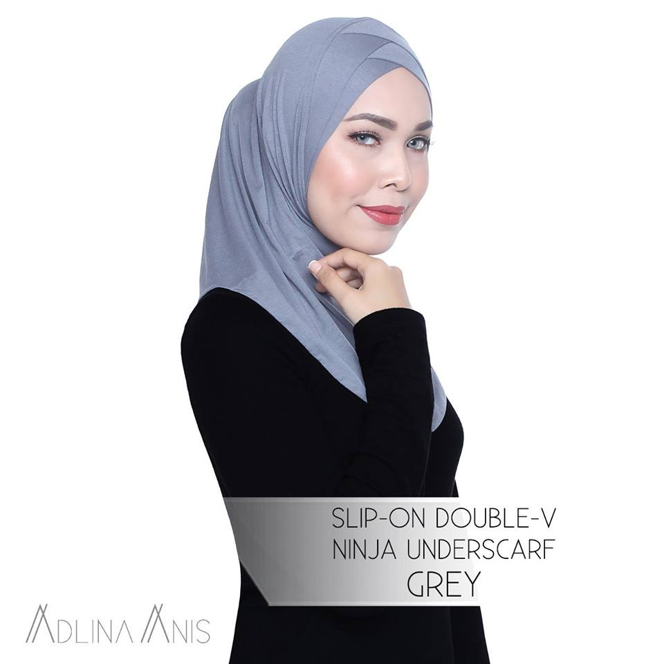 Slip-On Double-V Ninja Underscarf - Grey - underscarves - Adlina Anis - Third Culture Boutique