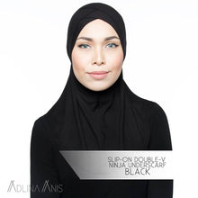 Load image into Gallery viewer, Slip-On Double-V Ninja Underscarf - Black - underscarves - Adlina Anis - Third Culture Boutique