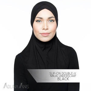 Slip-On Double-V Ninja Underscarf - Black - underscarves - Adlina Anis - Third Culture Boutique