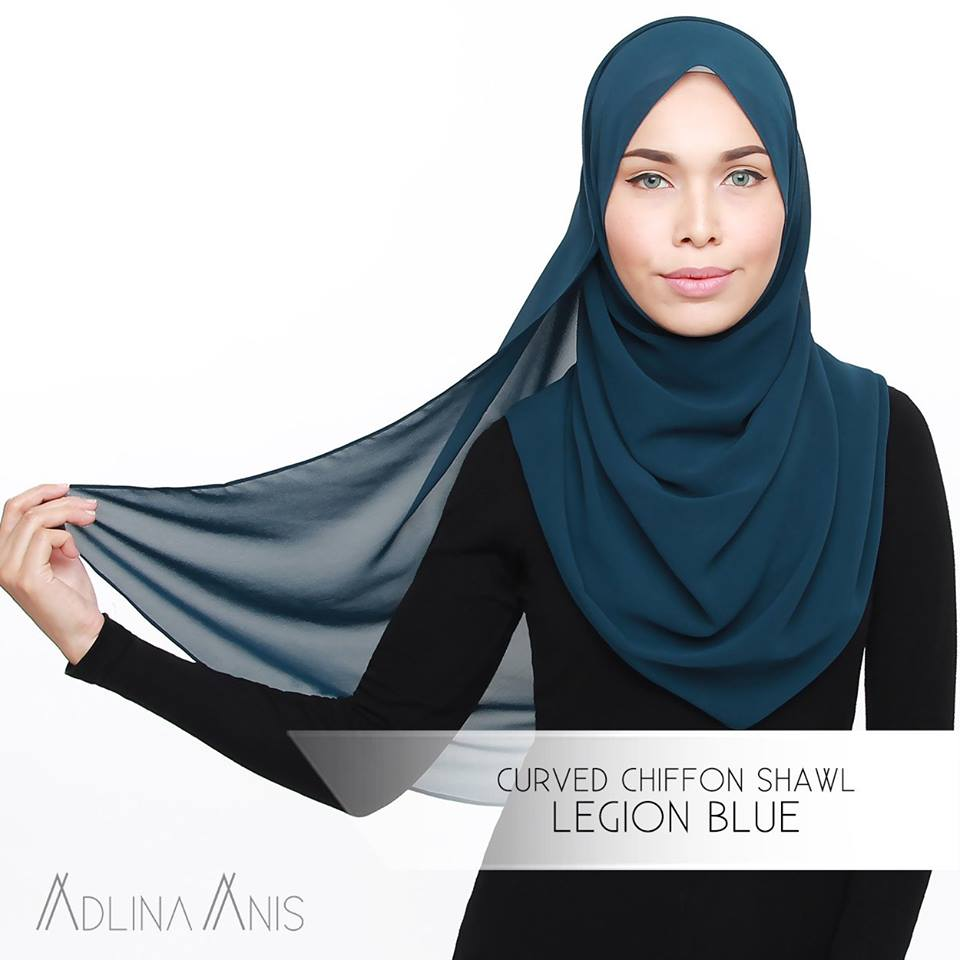 Curved Chiffon Shawl - Legion Blue - Premium Chiffon - Adlina Anis - Third Culture Boutique