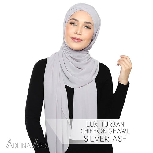 Lux Turban Chiffon Shawl - Silver Ash - Lux Turban - Adlina Anis - Third Culture Boutique