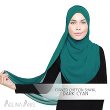 Load image into Gallery viewer, Curved Chiffon Shawl - Dark Cyan - Premium Chiffon - Adlina Anis - Third Culture Boutique