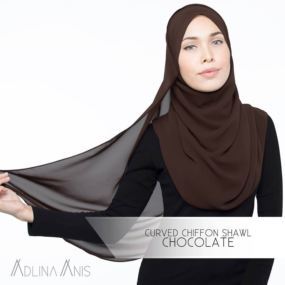 Curved Chiffon Shawl - Chocolate - Premium Chiffon - Adlina Anis - Third Culture Boutique