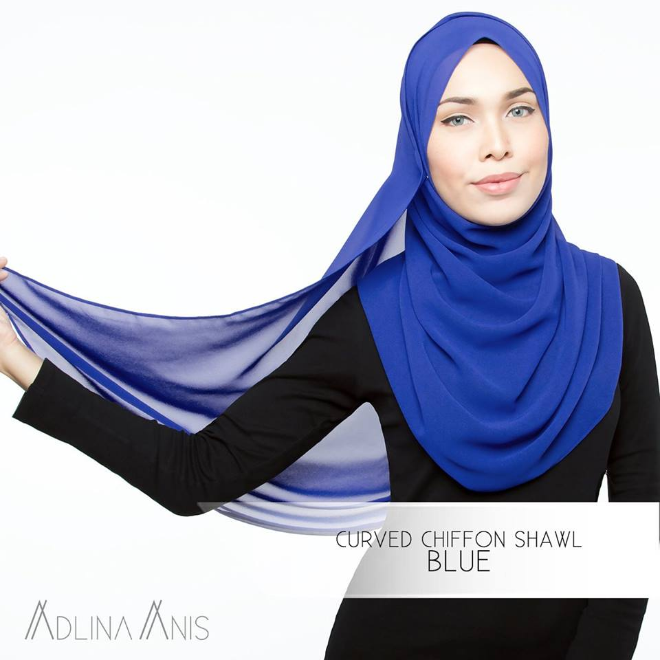 Curved Chiffon Shawl - Blue - Premium Chiffon - Adlina Anis - Third Culture Boutique