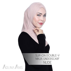 Slip-On Double-V Ninja Underscarf - Nude - underscarves - Adlina Anis - Third Culture Boutique