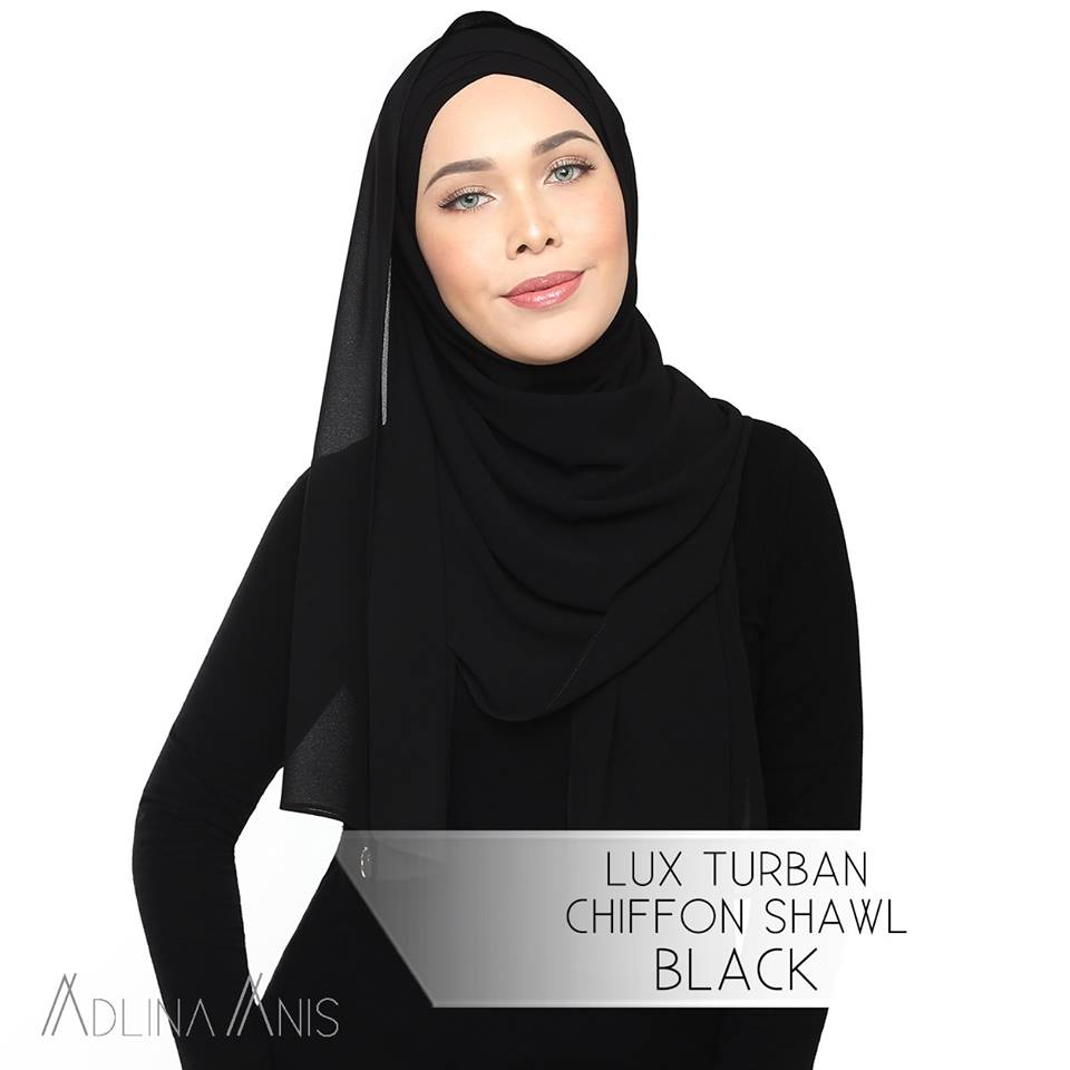Lux Turban Chiffon Shawl - Black - Lux Turban - Adlina Anis - Third Culture Boutique