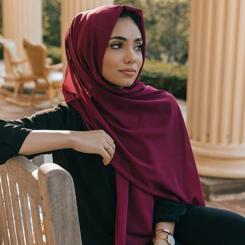 Niswa Fashion - Chiffon Scarf - MAROON - Basic Chiffon - Niswa Fashion - Third Culture Boutique