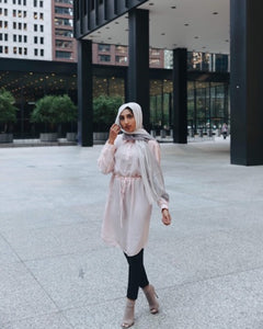 Niswa Fashion -Rhinestone Midi Dress - Blush - Modest Tops - Niswa Fashion - Third Culture Boutique
