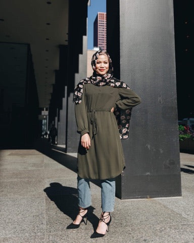 Niswa Fashion -Rhinestone Midi Dress - Olive - Modest Tops - Niswa Fashion - Third Culture Boutique