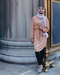 Niswa Fashion -Rhinestone Midi Dress - Camel (L) - Modest Tops - Niswa Fashion - Third Culture Boutique
