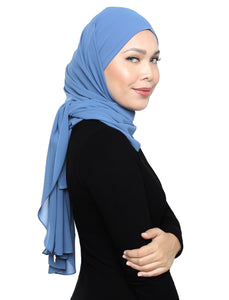 Lux Square Chiffon Shawl - Moonlight Blue