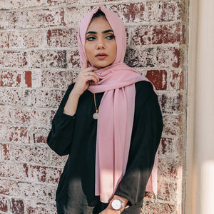 Niswa Fashion - Chiffon Scarf - PETAL PINK - Basic Chiffon - Niswa Fashion - Third Culture Boutique