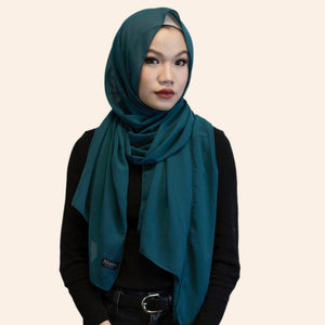 Niswa Fashion - Chiffon Scarf - TEAL - Basic Chiffon - Niswa Fashion - Third Culture Boutique