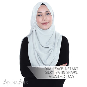 Dual Face Instant Silky Satin Shawl - Agate Grey - Third Culture Boutique
