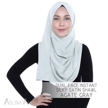 Load image into Gallery viewer, Dual Face Instant Silky Satin Shawl - Agate Grey - Instant Hijabs - Adlina Anis - Third Culture Boutique