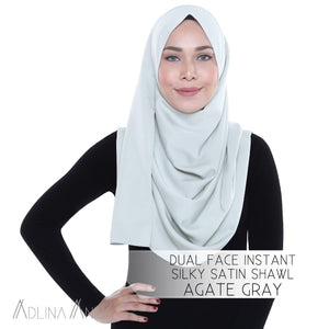 Dual Face Instant Silky Satin Shawl - Agate Grey - Instant Hijabs - Adlina Anis - Third Culture Boutique