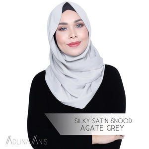 Silky Satin Snood - Agate Grey - Snoods - Adlina Anis - Third Culture Boutique