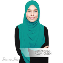 Load image into Gallery viewer, Chiffon Shawl - Aqua Green - Premium Chiffon - Adlina Anis - Third Culture Boutique