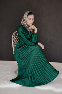 PRE-ORDER: Ayla Pleated Satin Gown - Emerald - Dresses - Niswa Fashion - Third Culture Boutique