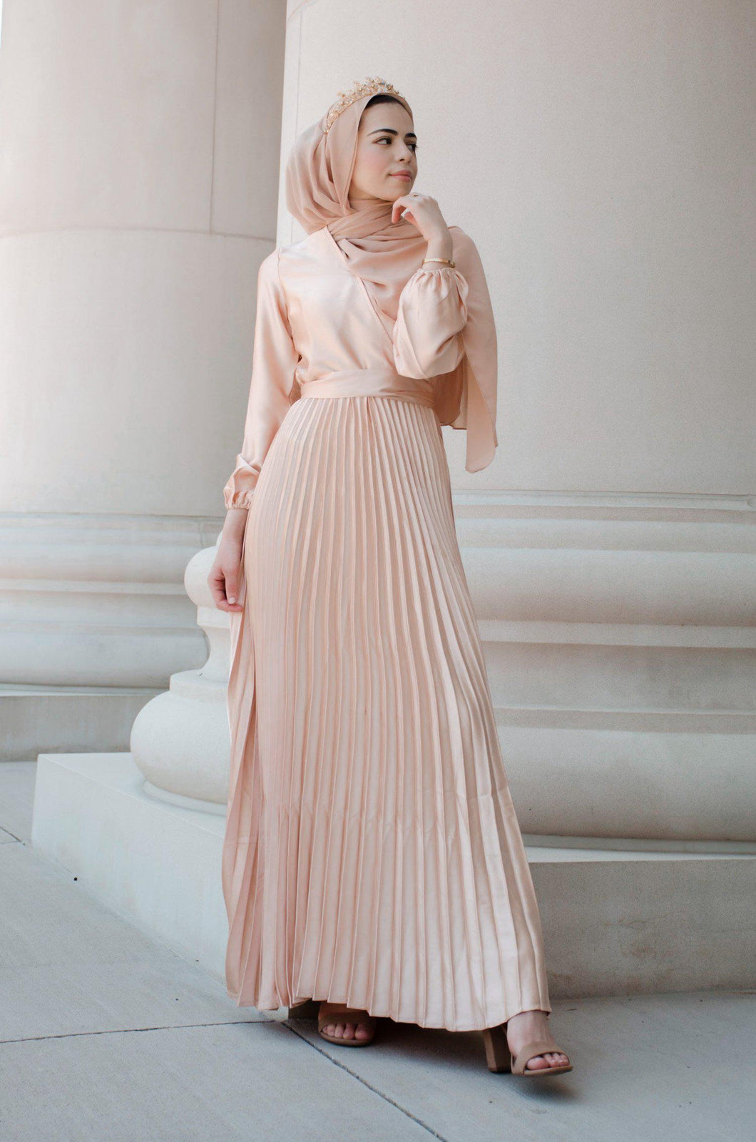 PRE-ORDER: Ayla Pleated Satin Gown - Sunlight Gold - Dresses - Niswa Fashion - Third Culture Boutique