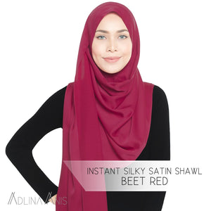 Instant Silky Satin Shawl - Beet Red - Instant Hijabs - Adlina Anis - Third Culture Boutique