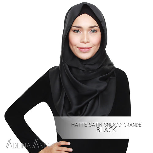 Matte Satin Snood Grande - Black - Third Culture Boutique