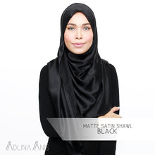 Load image into Gallery viewer, Matte Satin Shawl - Black - Satin - Adlina Anis - Third Culture Boutique