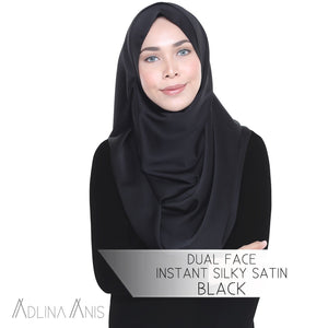 Dual Face Instant Silky Satin Shawl - Black - Third Culture Boutique