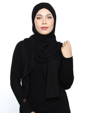 Load image into Gallery viewer, Lux Turban Jersey Shawl - Black