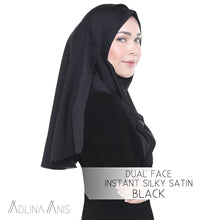 Load image into Gallery viewer, Dual Face Instant Silky Satin Shawl - Black - Instant Hijabs - Adlina Anis - Third Culture Boutique