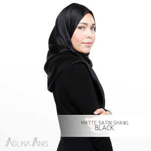 Matte Satin Shawl - Black - Satin - Adlina Anis - Third Culture Boutique
