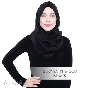 Silky Satin Snood - Black - Snoods - Adlina Anis - Third Culture Boutique