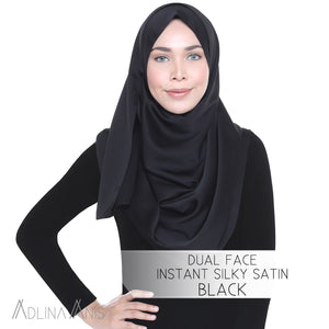 Dual Face Instant Silky Satin Shawl - Black - Instant Hijabs - Adlina Anis - Third Culture Boutique