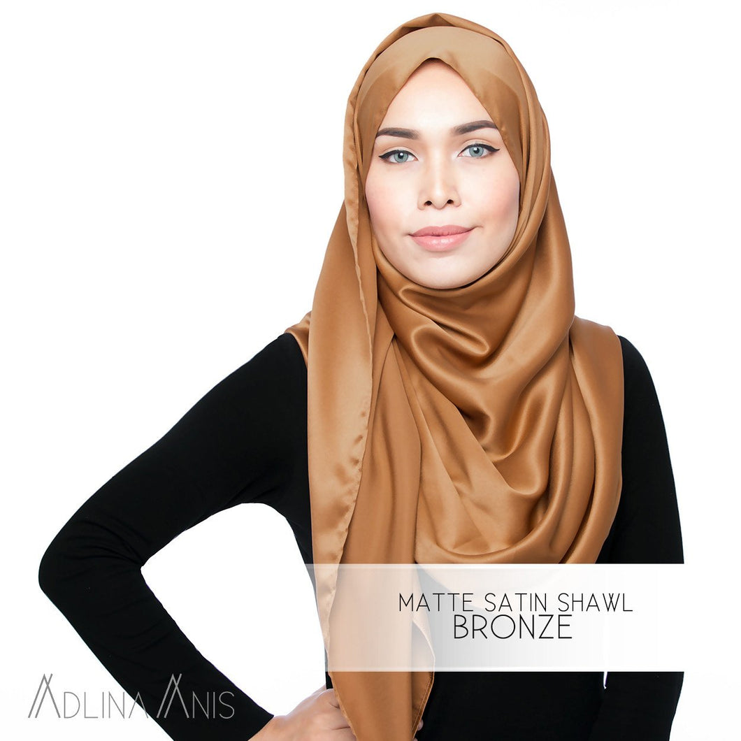 Matte Satin Shawl - Bronze - Satin - Adlina Anis - Third Culture Boutique