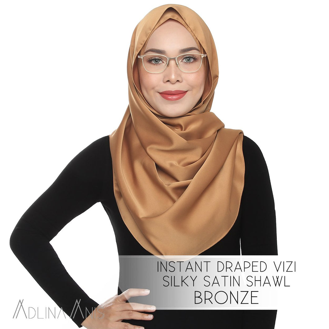 Instant Draped VIZI Silky Satin Shawl - Bronze - vizi - Adlina Anis - Third Culture Boutique