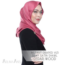 Load image into Gallery viewer, Instant Draped VIZI Silky Satin Shawl - Cedar Wood - vizi - Adlina Anis - Third Culture Boutique